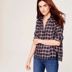 LOFT Navy Plaid Softened Popover Blouse Blue Red